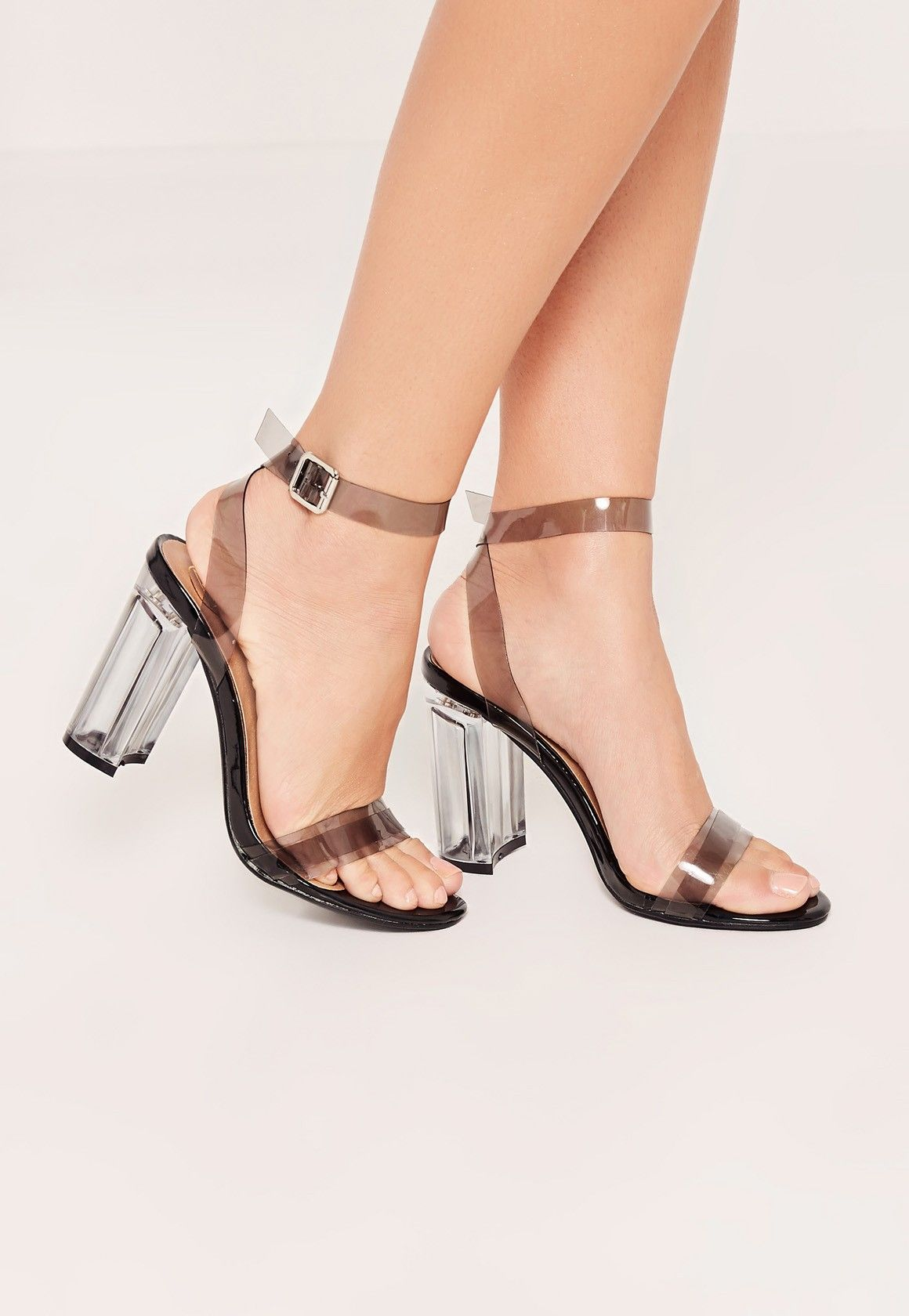 Missguided - Black Perspex Block Heel Barely There Sandals