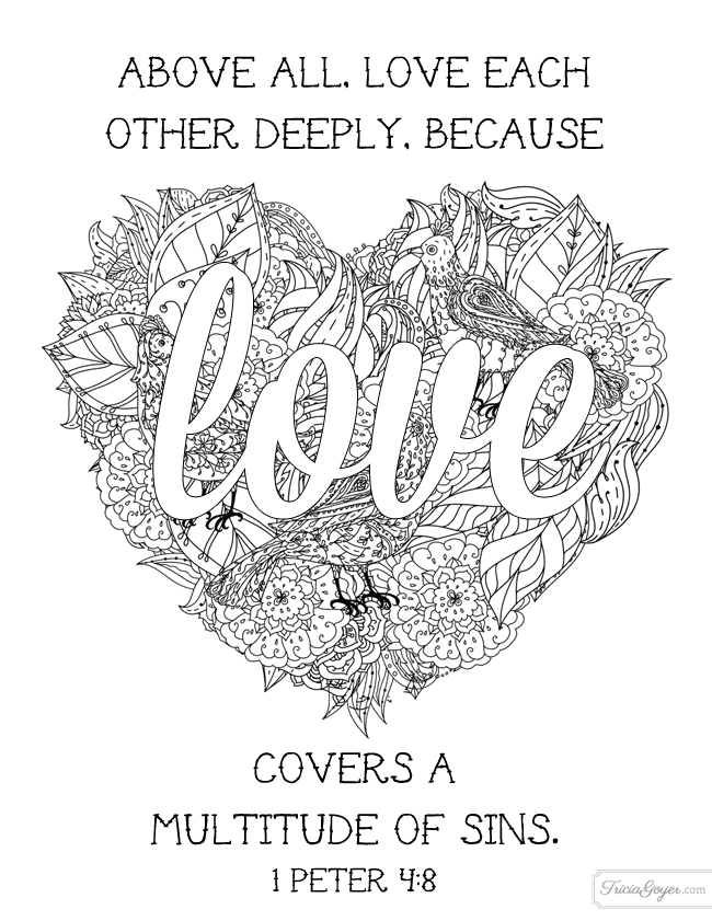 Love each other deeply coloring page | Adult Coloring Sheets | Pinterest