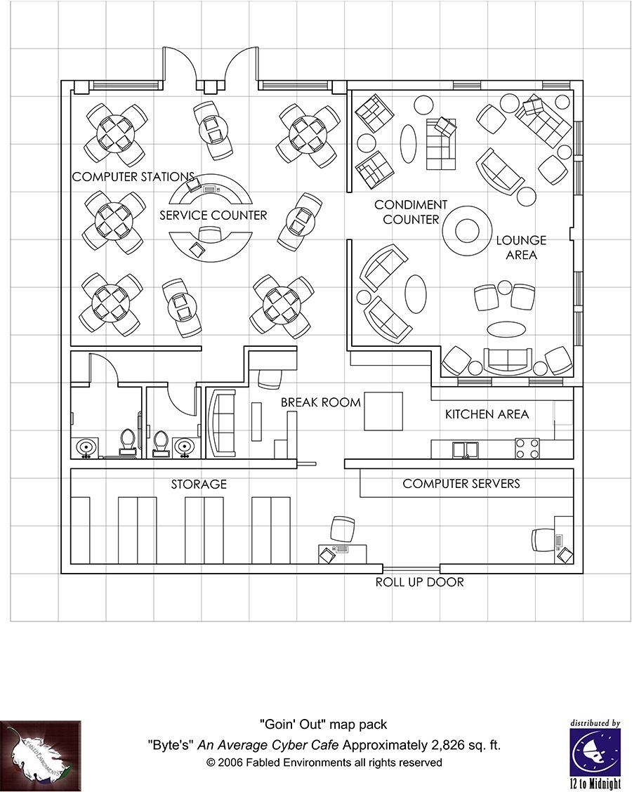 internet cafe floor plan layout