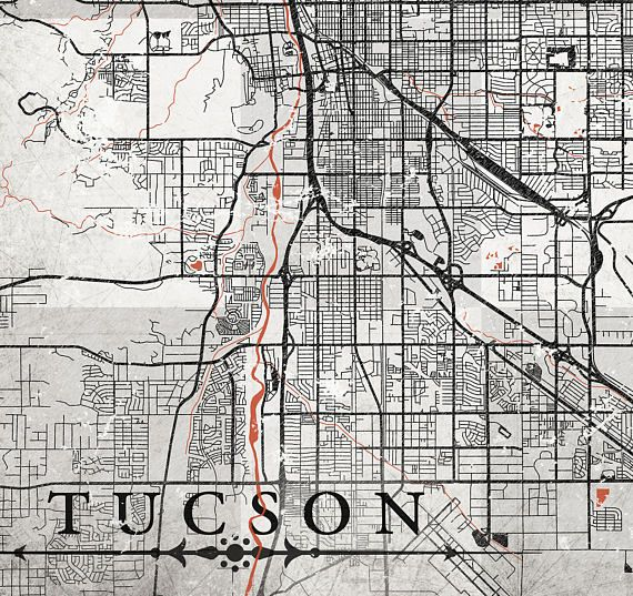 picture relating to Printable Map of Tucson Az identified as TUCSON AZ Canvas Print Arizona Az Common Town map grey gray