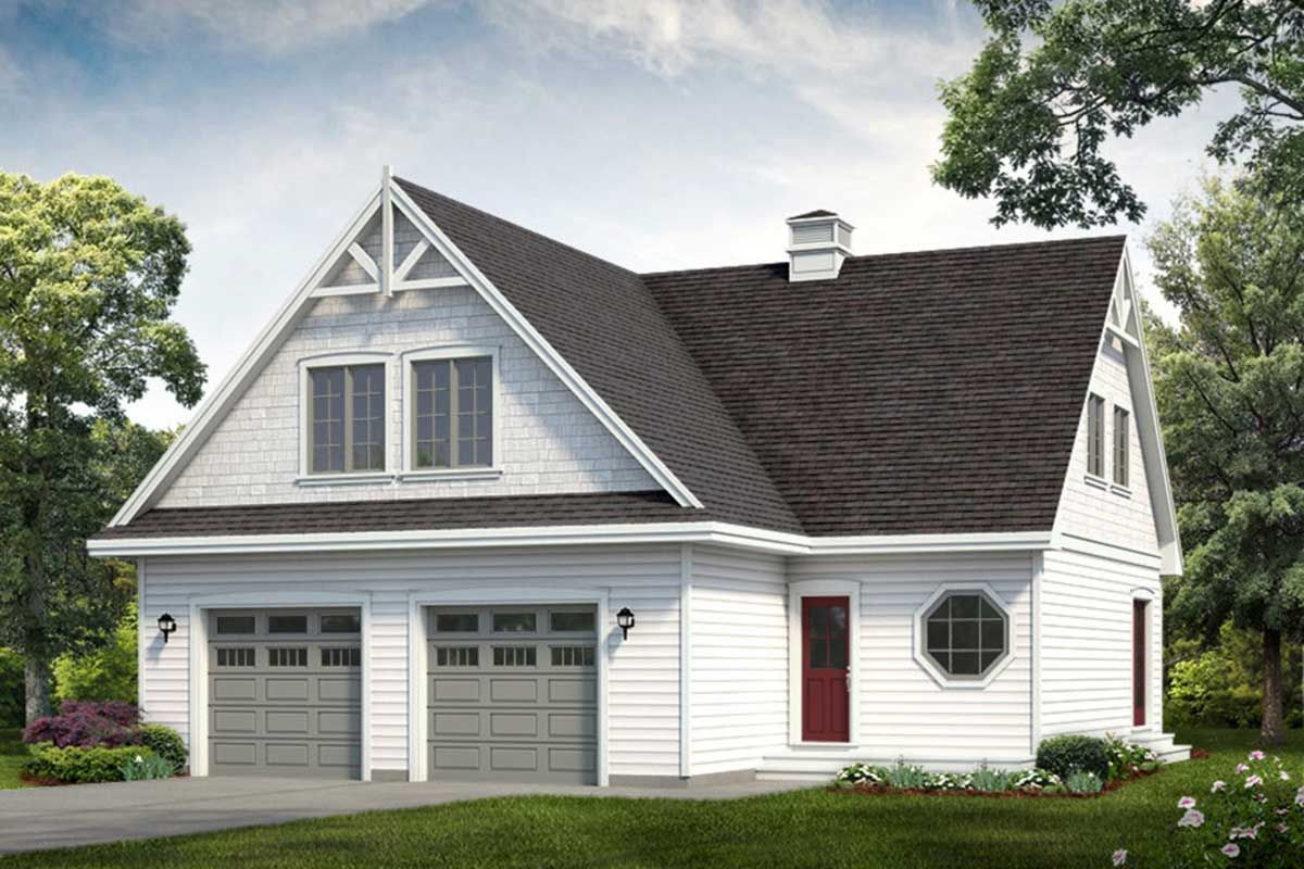 Plan 88437SH: 2-Bed Carriage House Plan