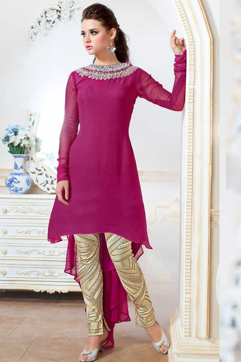 Pink Georgette Trouser Suit Price:-£89.00 Pink Georgette, semi stictch trouser suit. Round neck, Above knee length, full sleeves kameez. Cream santoon trouser. Pink chiffon dupatta. It is perfect for bridal wear, casual wear, festival wear and party wear wear. http://www.andaazfashion.co.uk/pink-georgette-trouser-suit-dmv13527.html