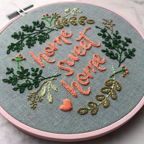 Home Sweet Home Hand Embroidery PDF Pattern. Stitching Guide. #articlesblog