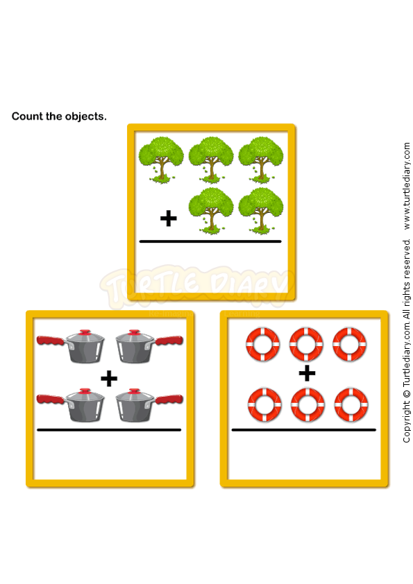 Picture Addition 5 - math Worksheets - preschool Worksheets ...
