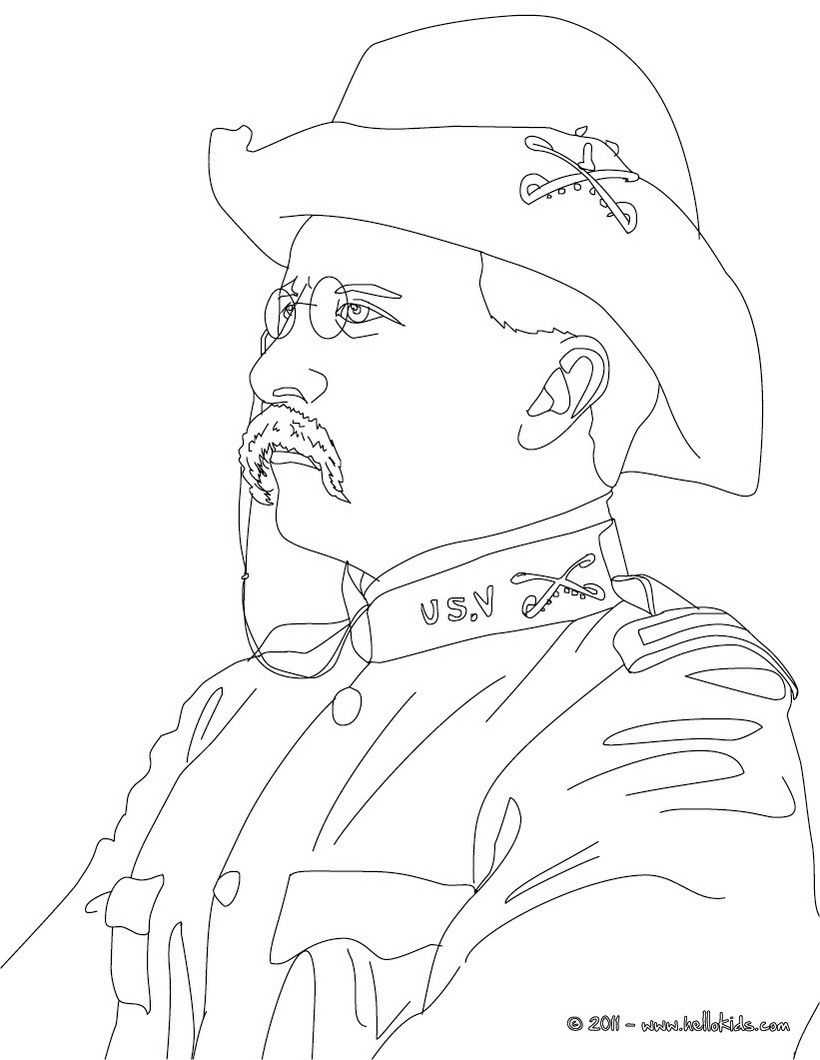 President THEODORE ROOSEVELT coloring page | History coloring sheets ...
