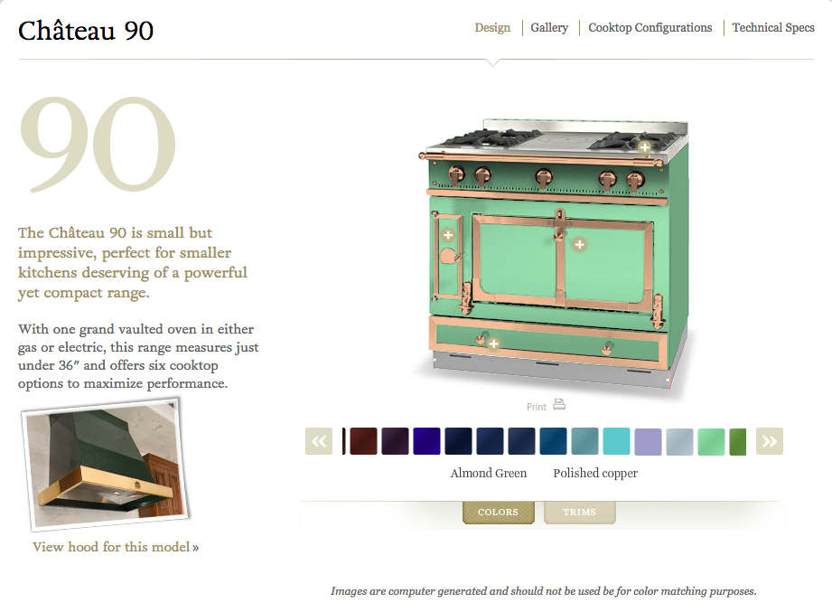 ch teau 90 la cornue almond green w polished copper trim literally everything i ever. Black Bedroom Furniture Sets. Home Design Ideas