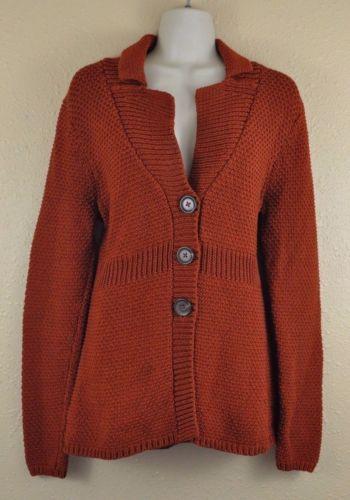 Boden Seed Stitch Cardigan UK 14-US 10 Rust Orange Red Three Button Knit Jacket Coat Sweater Cotton