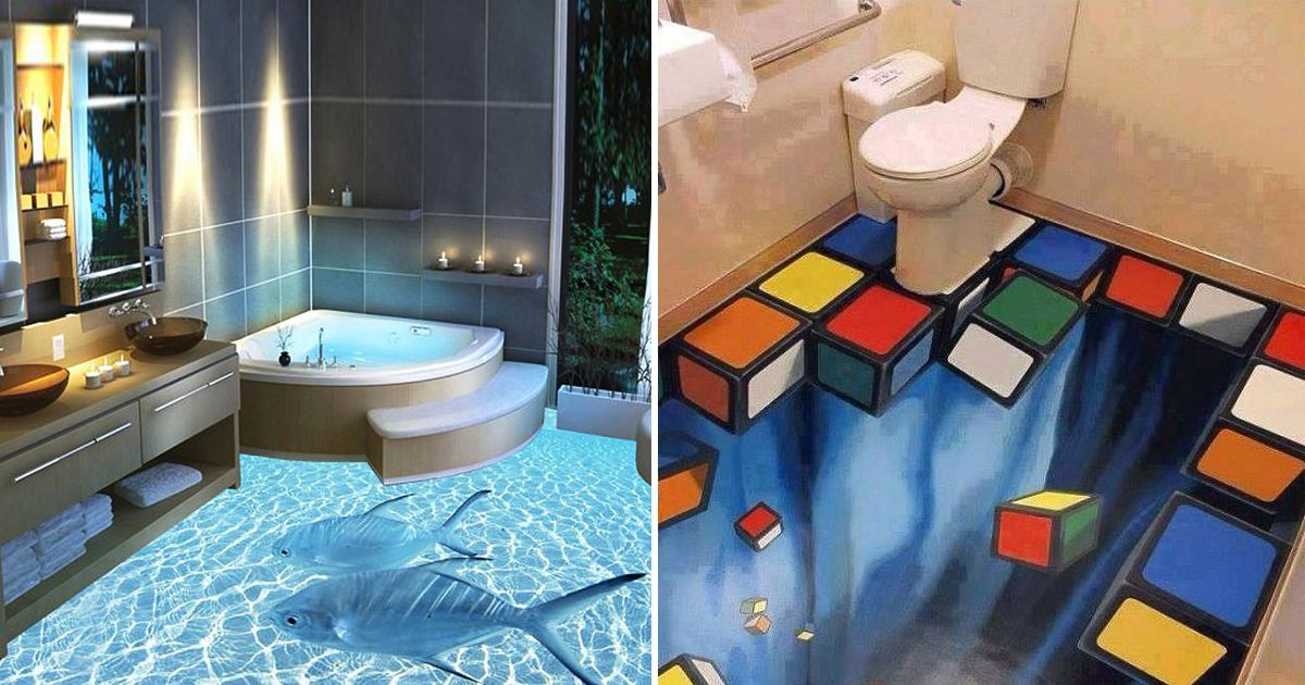 Murals on walls are great but these 3d floors transform for Bathroom floor mural sky