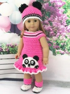 Crochet Pattern 18 Doll Pink Panda Outfit - Adoring Doll Clothes #dollclothes