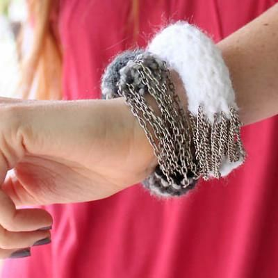 DIY knit/chain bracelets