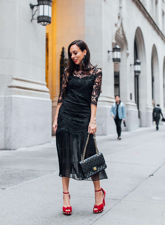 c08b173aa3f Sydne Style wears chanel classic black medium flap bag in caviar  black   blackdress  holidayoutfits