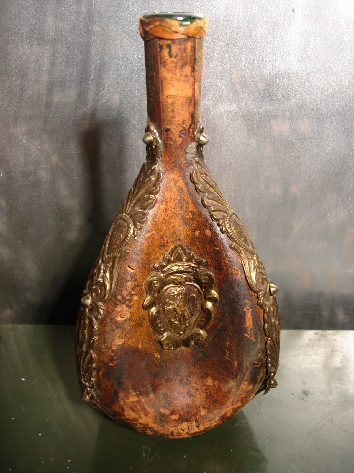 Very Old Leather Wine Bottle Holder