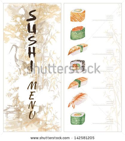 Sushi menu template. Two pages. - stock photo | Asian Art ...