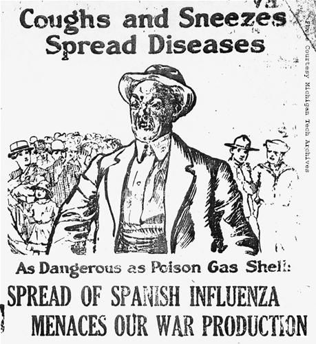 1918 - Warning sign regarding the spread of the Spanish flu virus ...