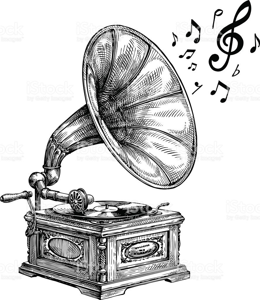 hand drawn vintage gramophone with music notes vector illustration music drawings how to draw hands vector art pinterest