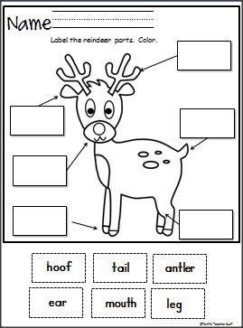 label the reindeer cut and paste christmas kindergarten books christmas worksheets. Black Bedroom Furniture Sets. Home Design Ideas