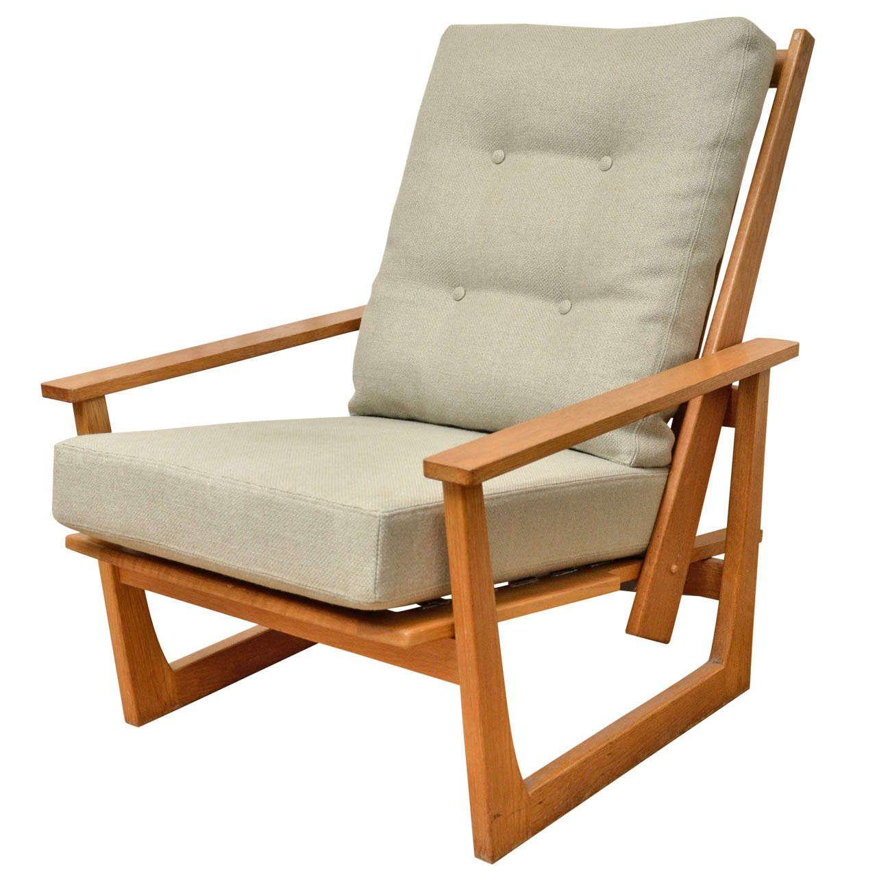 Reclining Wooden Lounge Chair | 1stdibs.com