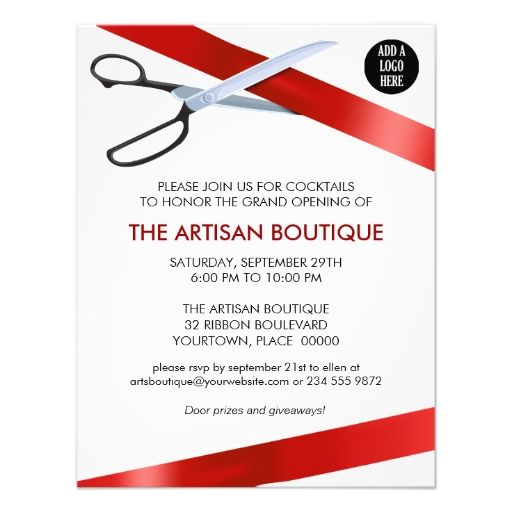 Red Ribbon Cutting Grand Opening Custom Announcements INVITATIONS - fresh invitation cards for new shop opening