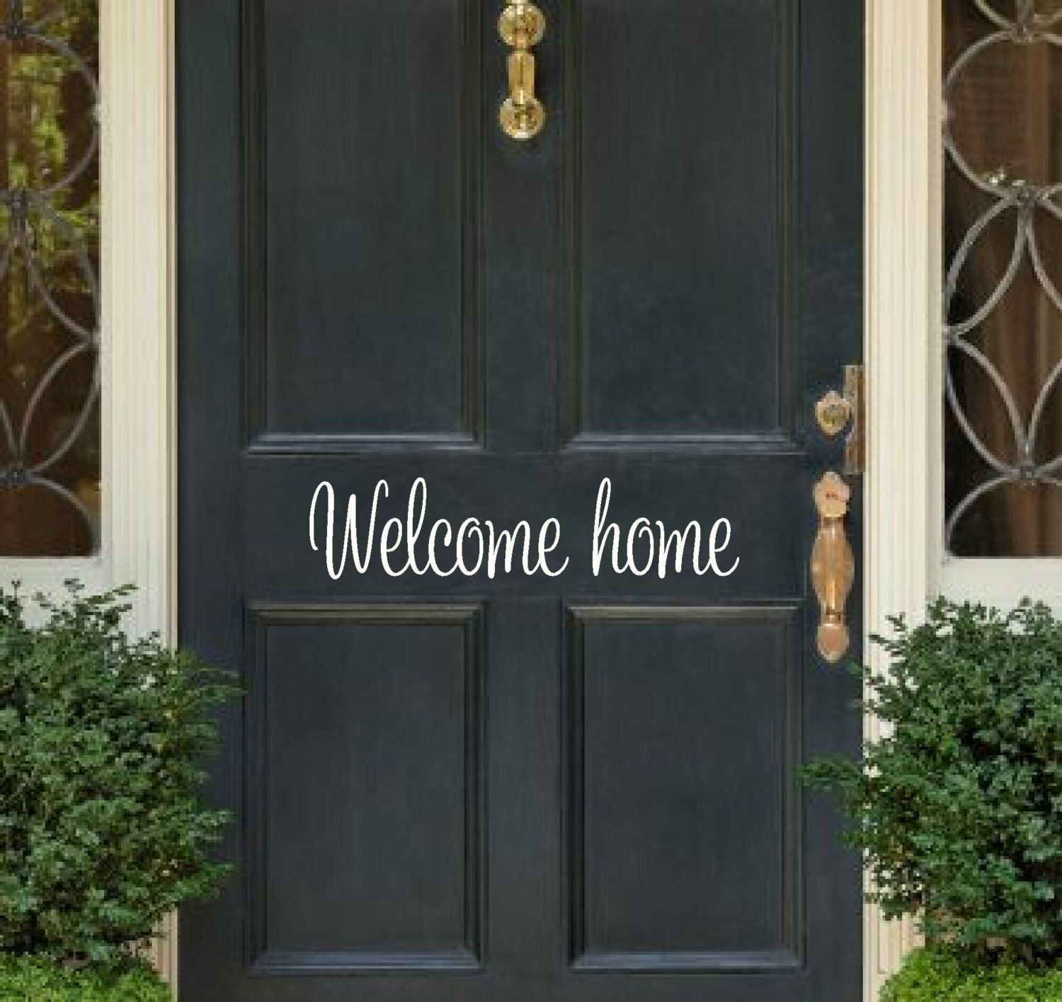 Welcome Home Vinyl Decal Welcome Home Decal Front Door Welcome Decal Front Door  Decal Door Vinyl Decal Welcome Door Decal