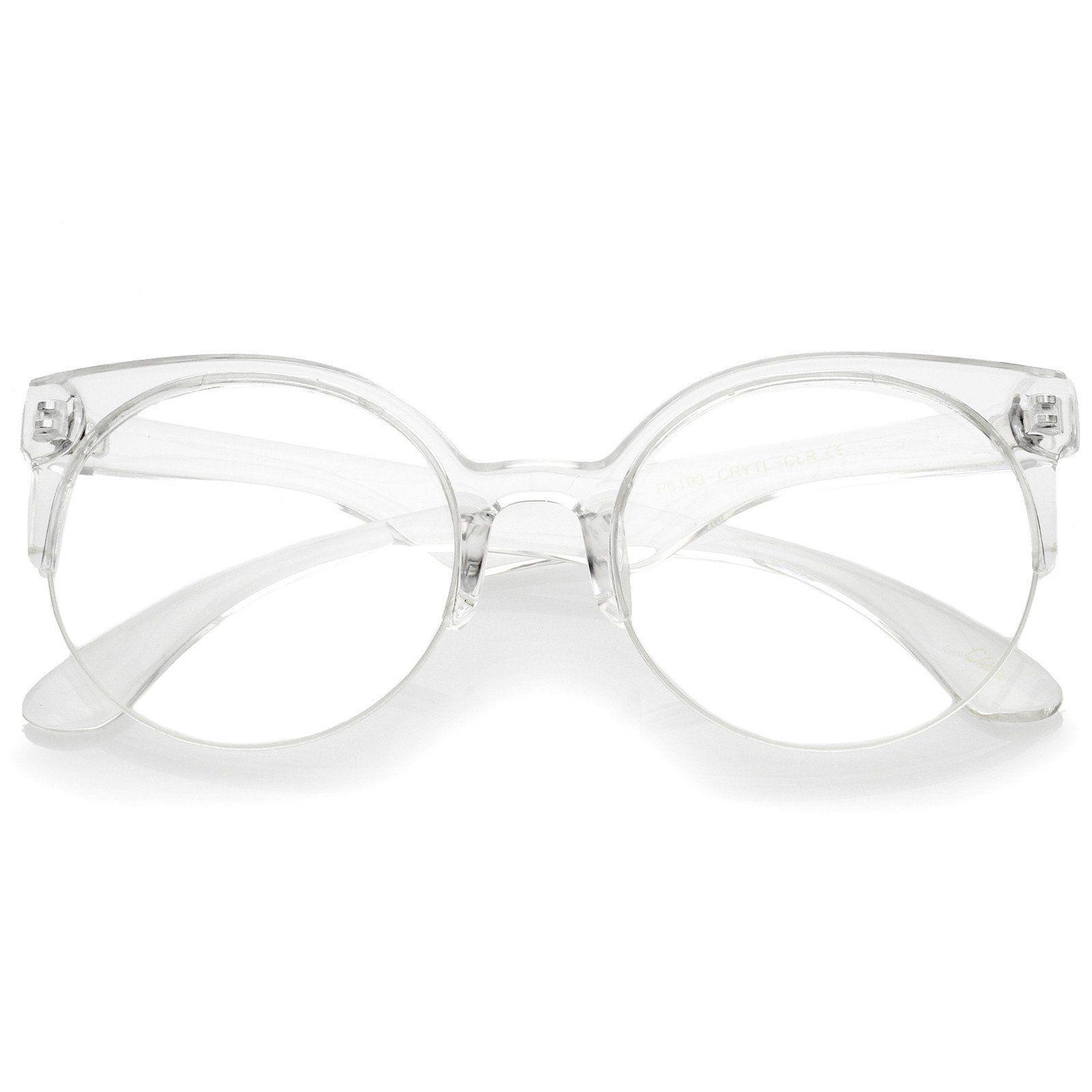 Modern Translucent Frame Round Clear Lens Semi-Rimless Eyeglasses ...