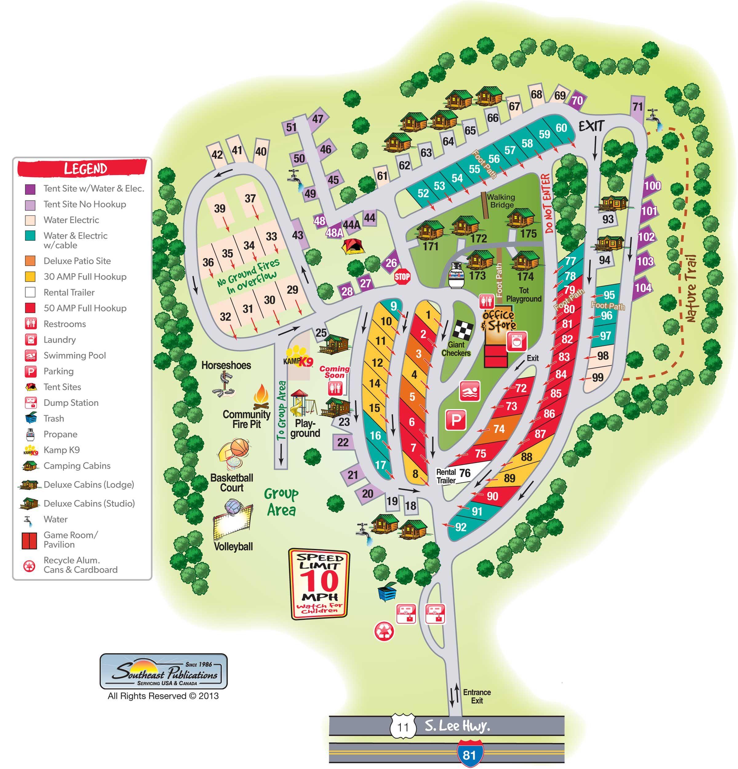 Sitemap List: Campground Site Map Natural Bridge VA
