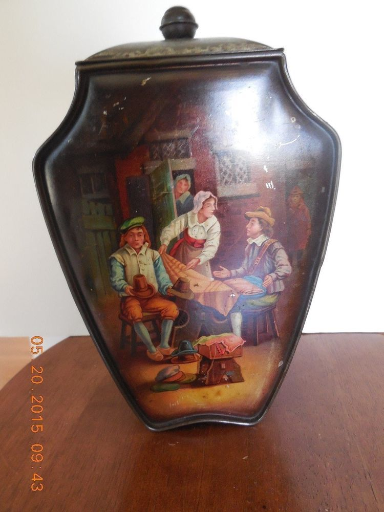 Antique Vintage Advertising Tin D S Perrin& Company Biscuts 7 Candy London & Can