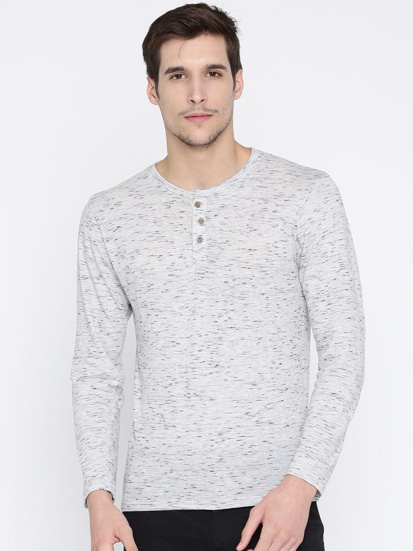 Herenow Men Grey Melange Self Design Henley Neck T Shirt 339