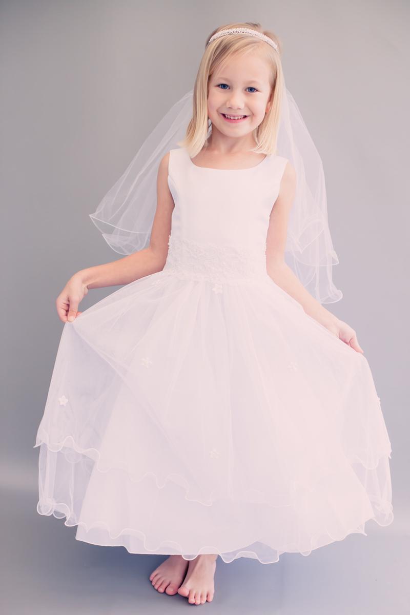 f4c8925381f Girls Lace Trim Communion Dress w. Tiered Lettuce Trim Tulle Skirt 6 ...