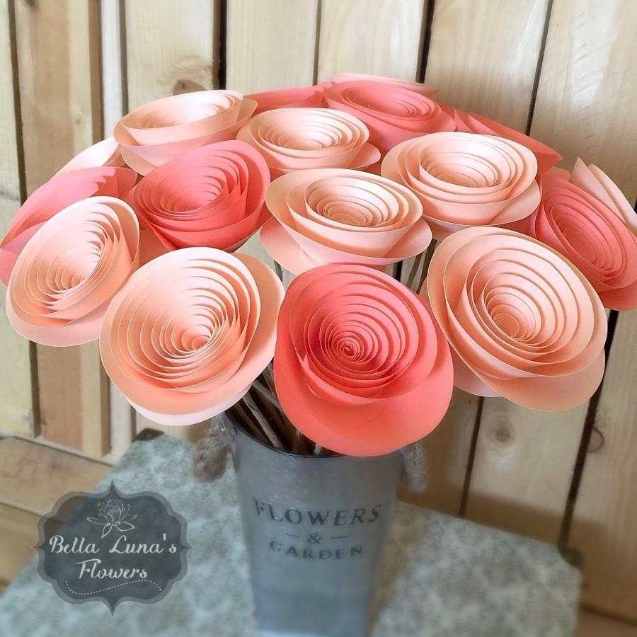 Wedding Decor  Paper Flowers Stemmed Peachoral Salmon Wedding Home