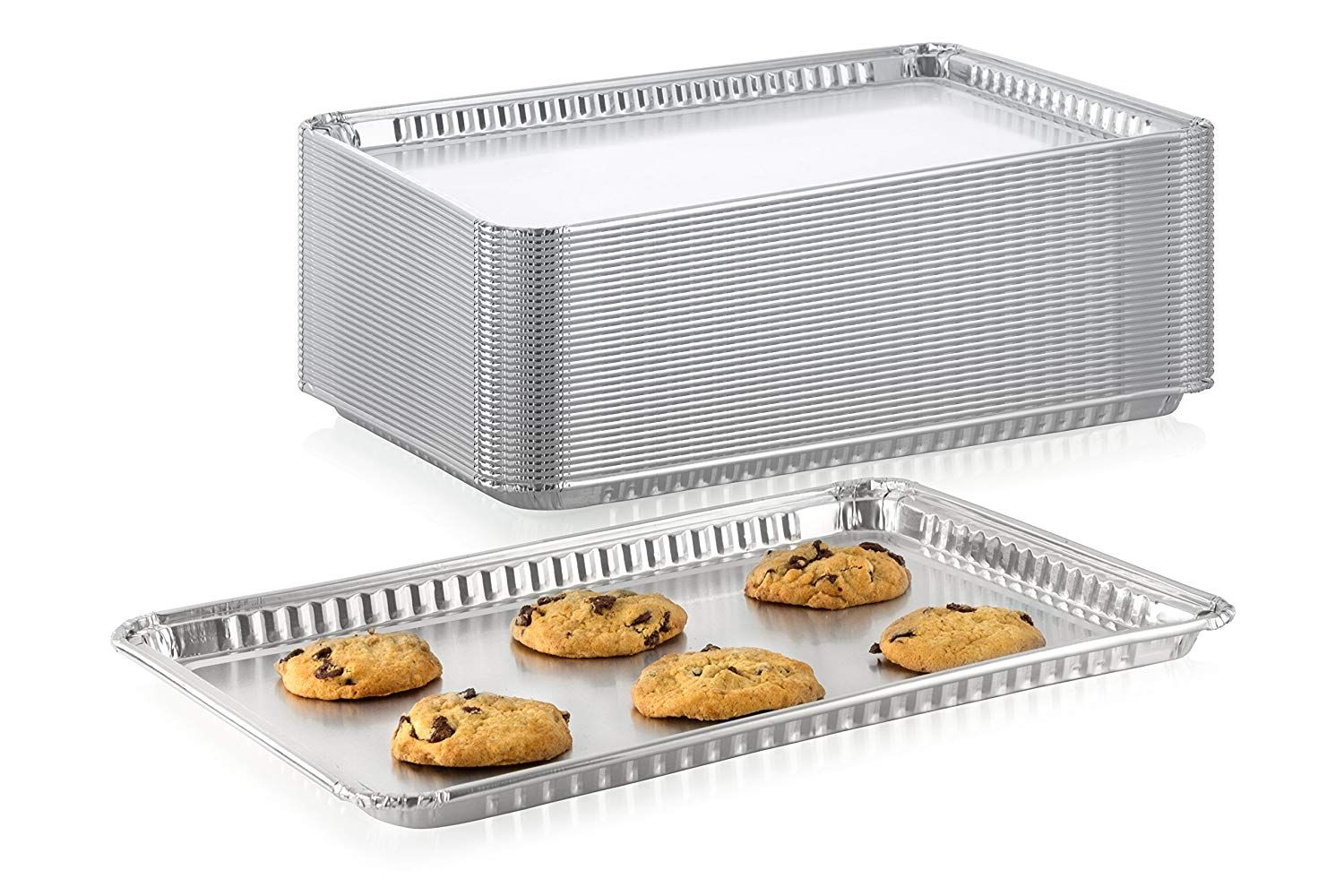 Pack Of 10 Durable Aluminum 1 2 Half Size Sheet Baking Pan Super Strong Disposable Foil Baking Tins Ideal Portable Food Food Storage Containers Baking Pans