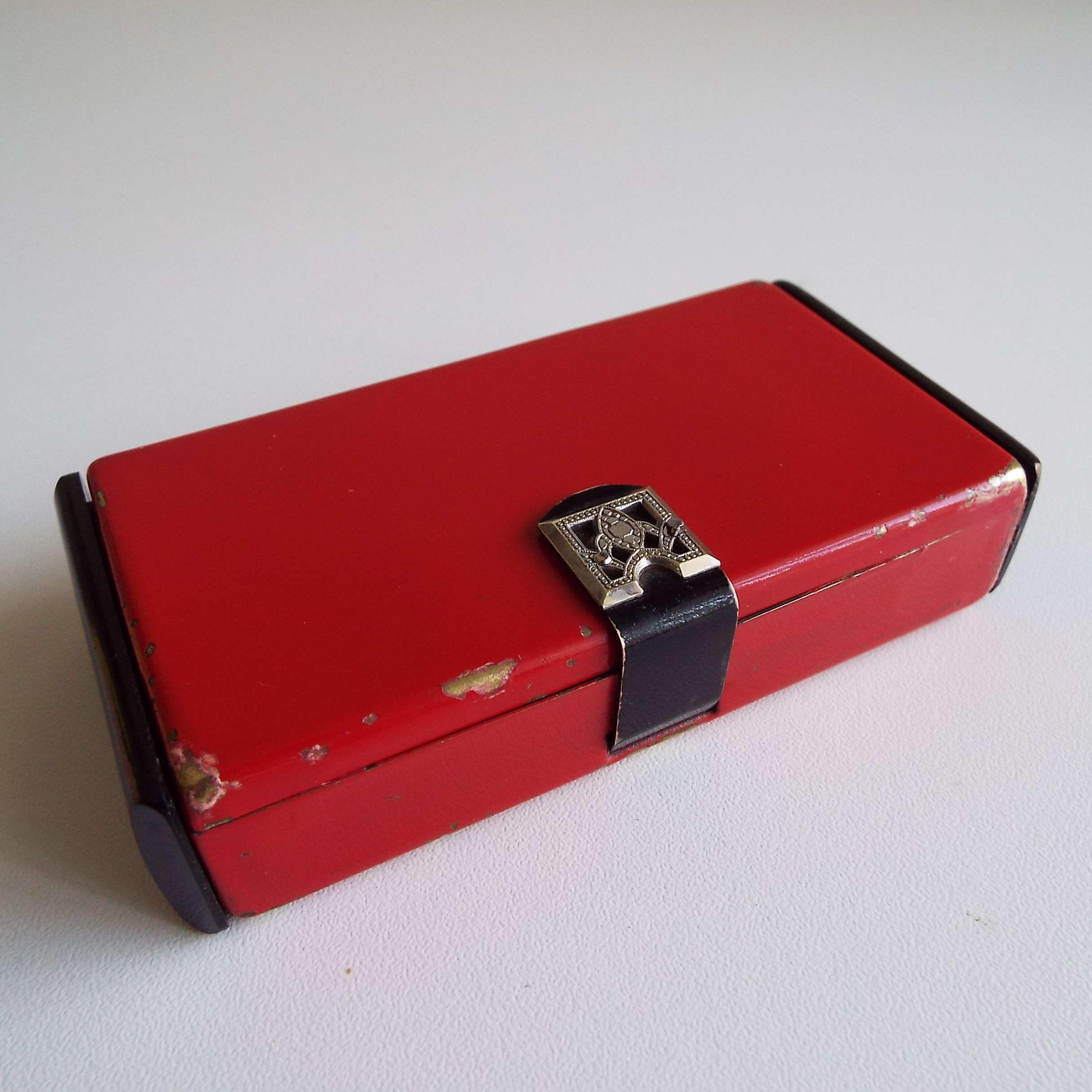 Vintage Art Deco 1930's Minaudiere Compact Purse Rouge