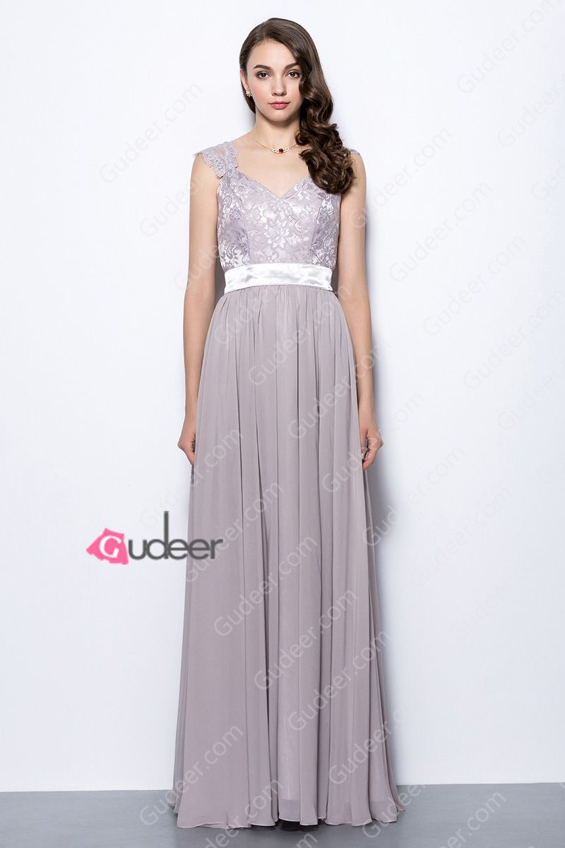 Chic Cap Sleeve Grey Purple Lace Bodice Long Chiffon ...