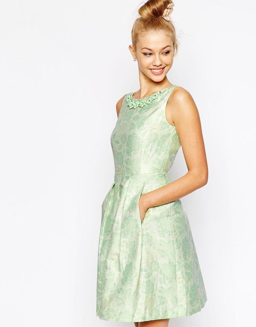Tahari Fl Jacquard Dress With Embellished Necklace