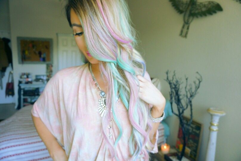 Multi- Pastel colored hair.  Beauty & Fashion YouTuber Lena Young