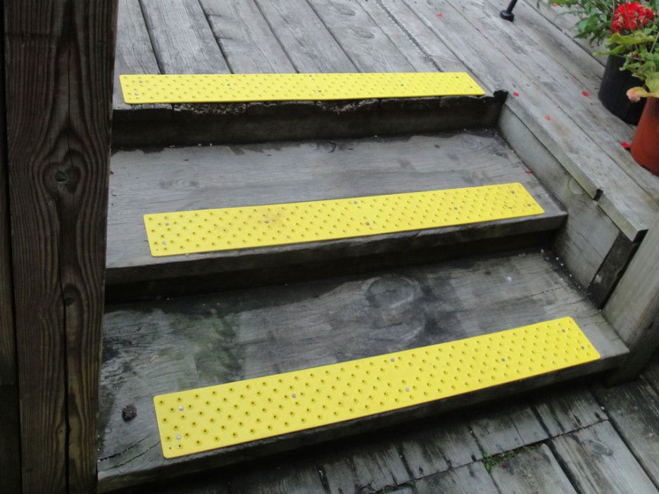 Beau Best No Slip Treads For Stairs Ideas : Exterior Stair Design With Gray  Wooden Treads And Floor Combine With Chic Anti Slip Yellow Tread Mats