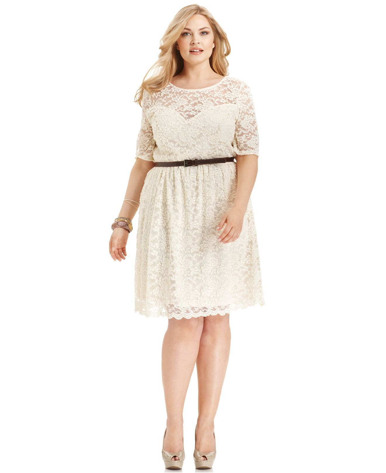 $59.00 American Rag Plus Size Dress, Short-Sleeve Lace Belted ...