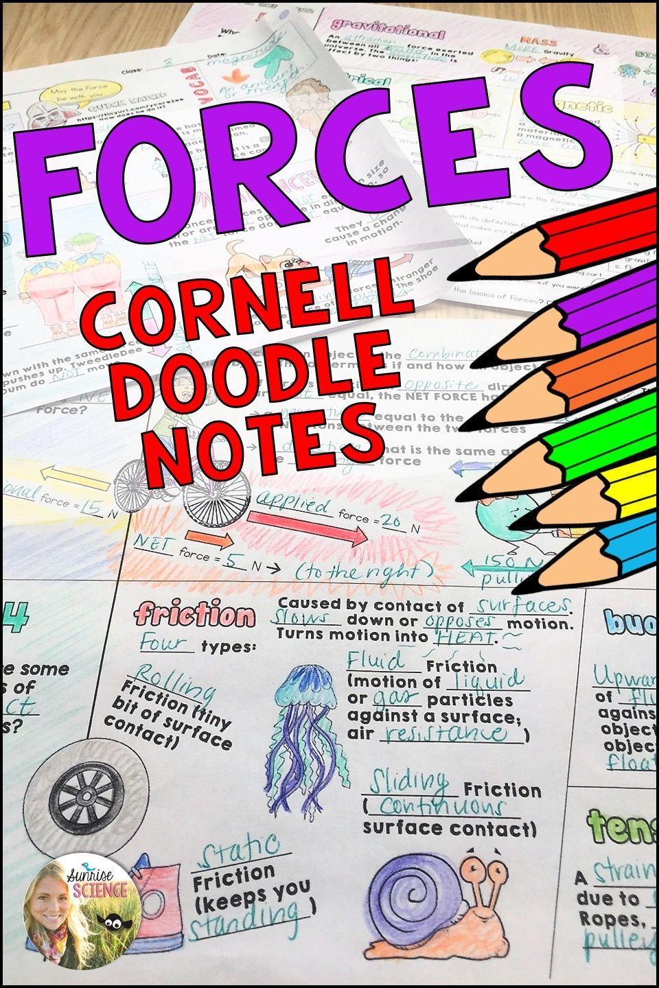 Forces Cornell Doodle Notes In 2020 Middle School Physics Science Teaching Resources Doodle Notes