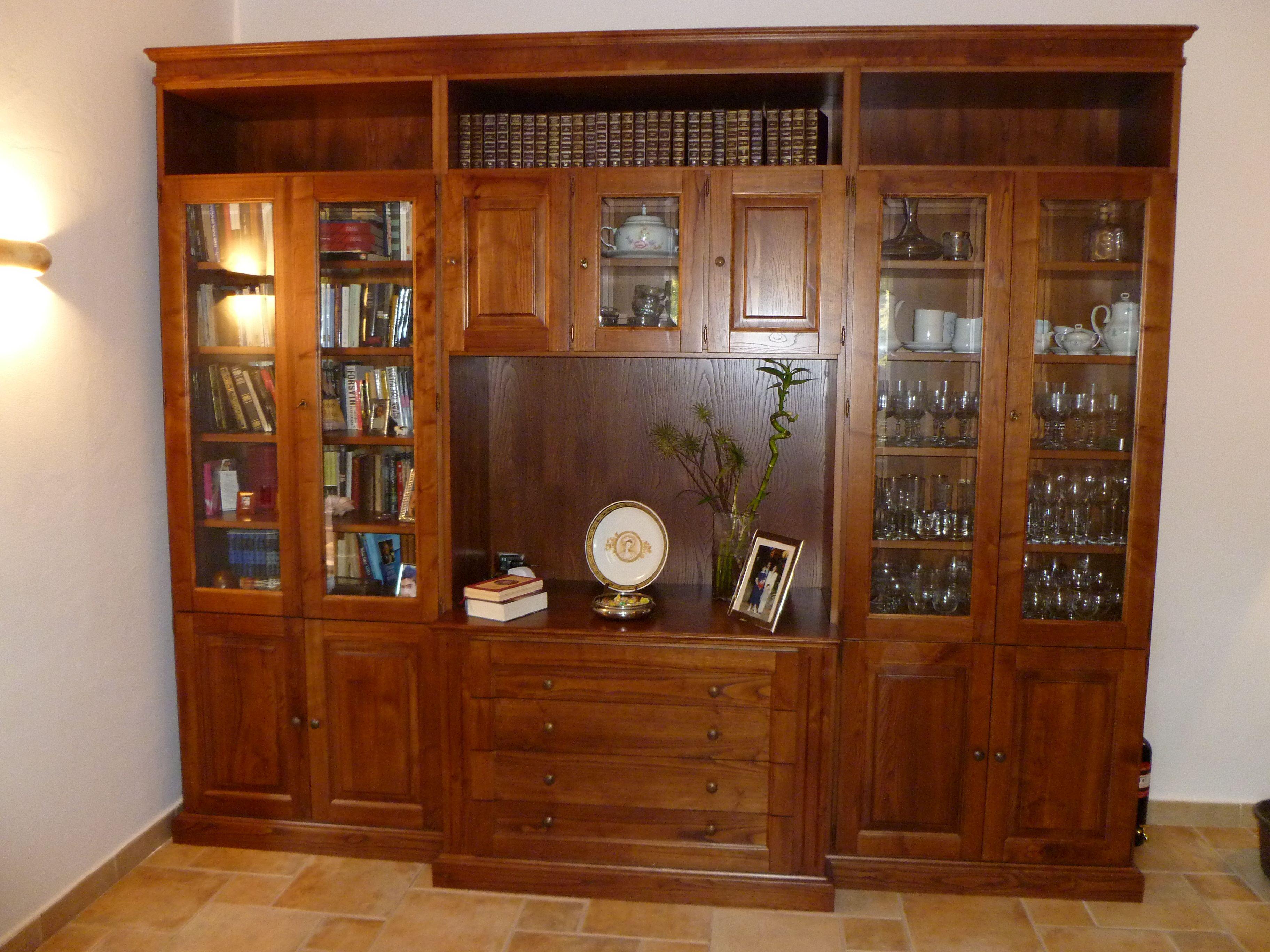 Mobile per salotto in legno di castagno mobili artigianali