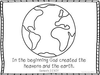 Genesis 1:1 Coloring and activities by Pirate Girls