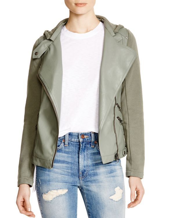 Aqua Faux Leather Jacket with French Terry