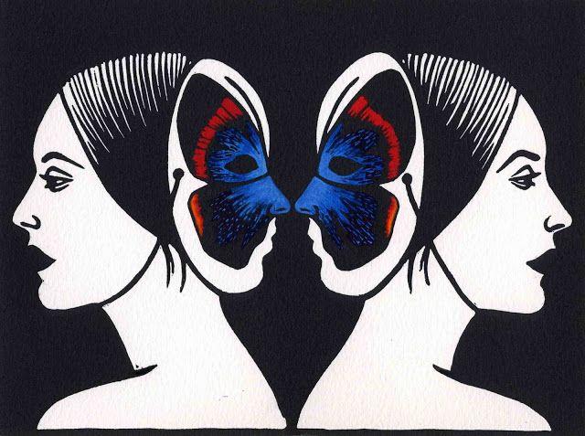 Deborah Klein, Four Eyes 2012 hand-coloured linocut