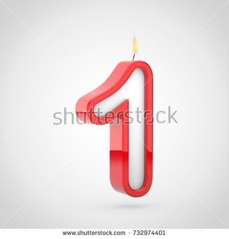 Birthday Candle Number 1 3D Render Of Cake Font With Wick And Flame Isolated