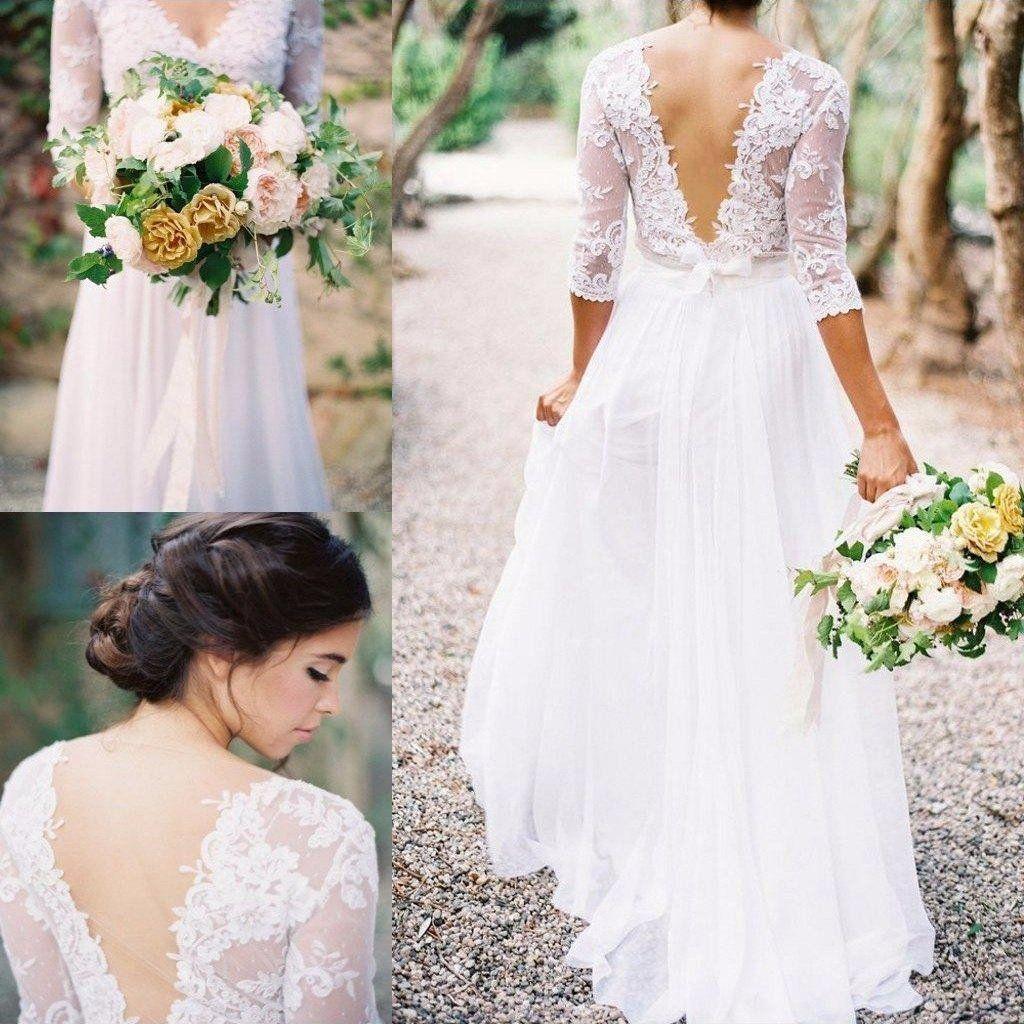 3 4 Sleeve A Line Long Chiffon Dress With Low V Back And Lace Bodice Bu 708719 Boho Wedding Dress Lace Sheer Wedding Dress Boho Wedding Dress [ 1024 x 1024 Pixel ]