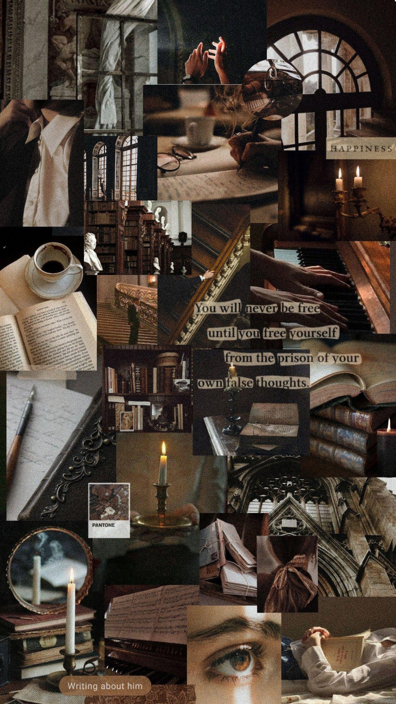 Dark Academia Aesthetic In 2020 Brown Aesthetic Wallpaper Mood Board