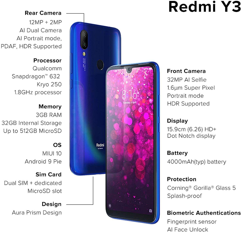 Offer Redmi Y3 Elegant Blue 3gb Ram 32mp Selfie Camera 32gb Storage 4000mah Battery Rs 7999 Ram Smartphone Hotspot Wifi