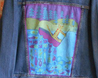 90s Denim Embroidered Jacket / Vintage Jean Jacket / Vintage Denim Jacket /  Blue Jean Jacket