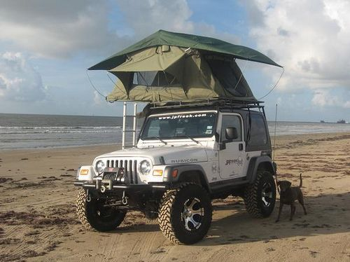 Camping On Galveston Beach 2006 Jeep Tent Jeep Tj Jeep Wrangler Off Road