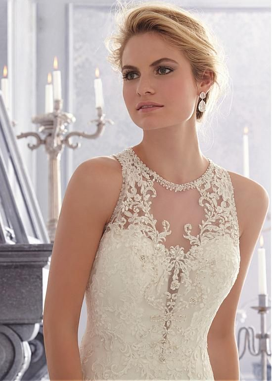 Amazing Tulle Jewel Neckline Natural Waistline Mermaid Wedding Dress With Beaded Lace Appliques