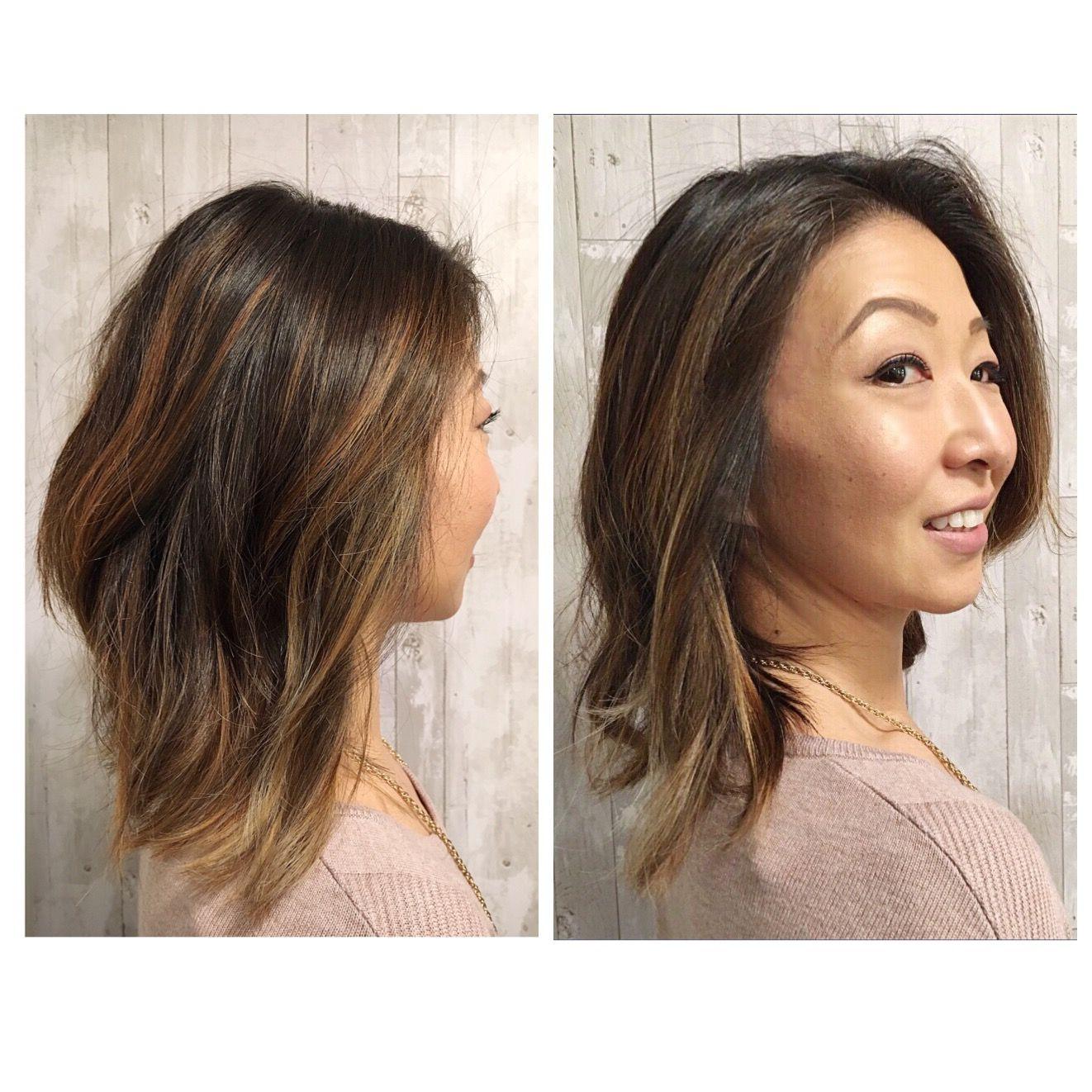 Razor Long Layered Haircut And Bayalage Highlights On Asian Hair