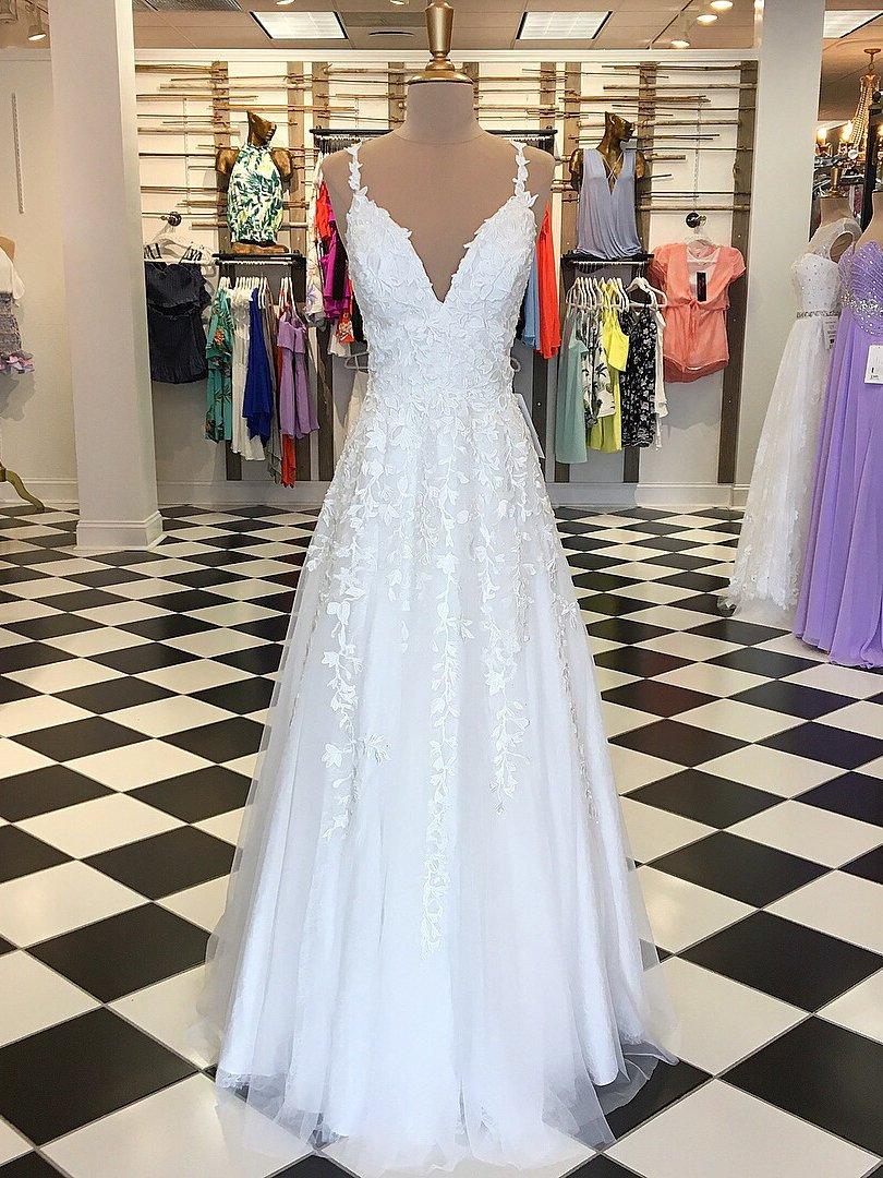aline spaghetti straps prom dresses custom white long prom